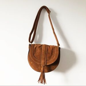 Just fab brown suede shoulder handbag 👜